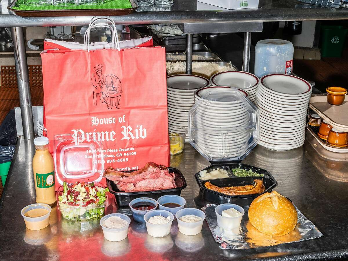 A to-go order ready to be packed up at House of Prime Rib in San Francisco, Calif. on Friday, October 30, 2020.