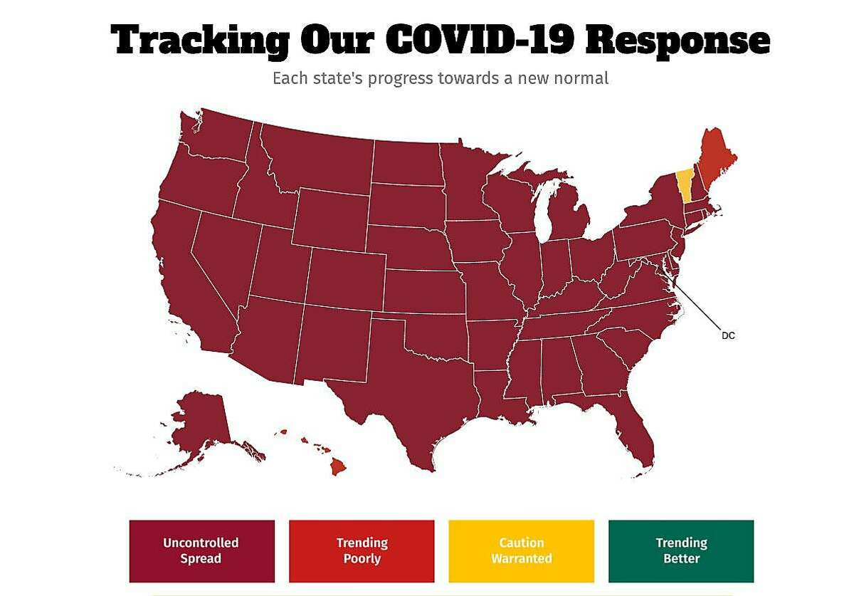 """All U.S. states except Vermont, Maine and Hawaii, plus the District of Columbia, fall into the """"uncontrolled spread"""" category for coronavirus infections as of Nov. 11, 2020, according to data gathered by the COVID Exit Strategy."""