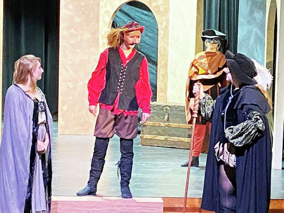 "The cast of Principia College's ""The Taming of the Shrew,"" scheduled for live online performances at 7:30 p.m., Thursday, Nov. 12, through Saturday, Nov. 14, in addition to a 2 p.m. matinee Saturday, Nov. 14. There will also be a limited number of seating in Principia's Robert Duvall Theatre in the McVay Center for the Performing Arts on the Principia campus in Elsah. Photo: Submitted Photo