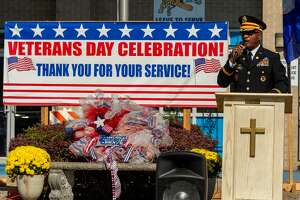 Major Earl Wheaton spoke to the attendees about how are veterans have served us and kept us free. He also stressed we should express our gratitude for their sacrifices and see if there might be some way we can assist our veterans in every day life. In honor of Veterans Day, Our Mother of Mercy Catholic Church held a Veterans Day Celebration outside the parish school with about fifty socially-distanced folks in attendance. Photo made on November 11, 2020. Fran Ruchalski/The Enterprise