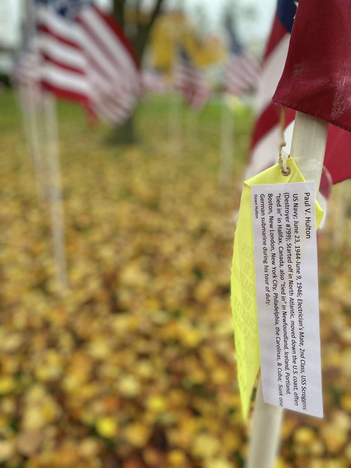 After the ceremony, some residents visited the Flags of Valor display, put on by the Kiwanis Club of Danbury, on the lower lawn of the New Milford Historical Society near the top of the Green. Flags are tagged with the names of veterans.