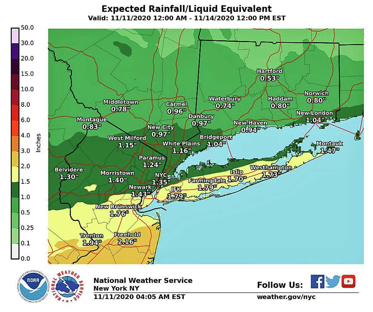 According to the hourly forecast, the rain should begin in western Connecticut by 6 p.m. and continue through at least mid-morning on Thursday. About an inch of rain is expected along the shoreline. In northern Fairfield, New Haven, Middlesex and New London Counties about three-quarters of an inch is expected. Northern Connecticut is forecast to recieve about a half-inch. Rain gradually tapers from north to south on Thursday as the cold front sinks well south of the area.