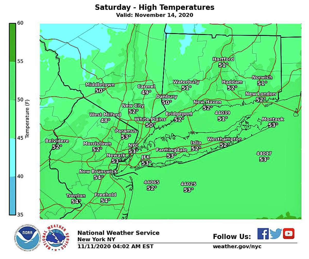 After the rain ends on Thursday, there will be a steep drop in temperature. High temperatures on Friday and during the weekend will be about 20 degrees cooler than earlier this week. High temperatures will be in the low to mid-50s, the NWS says.