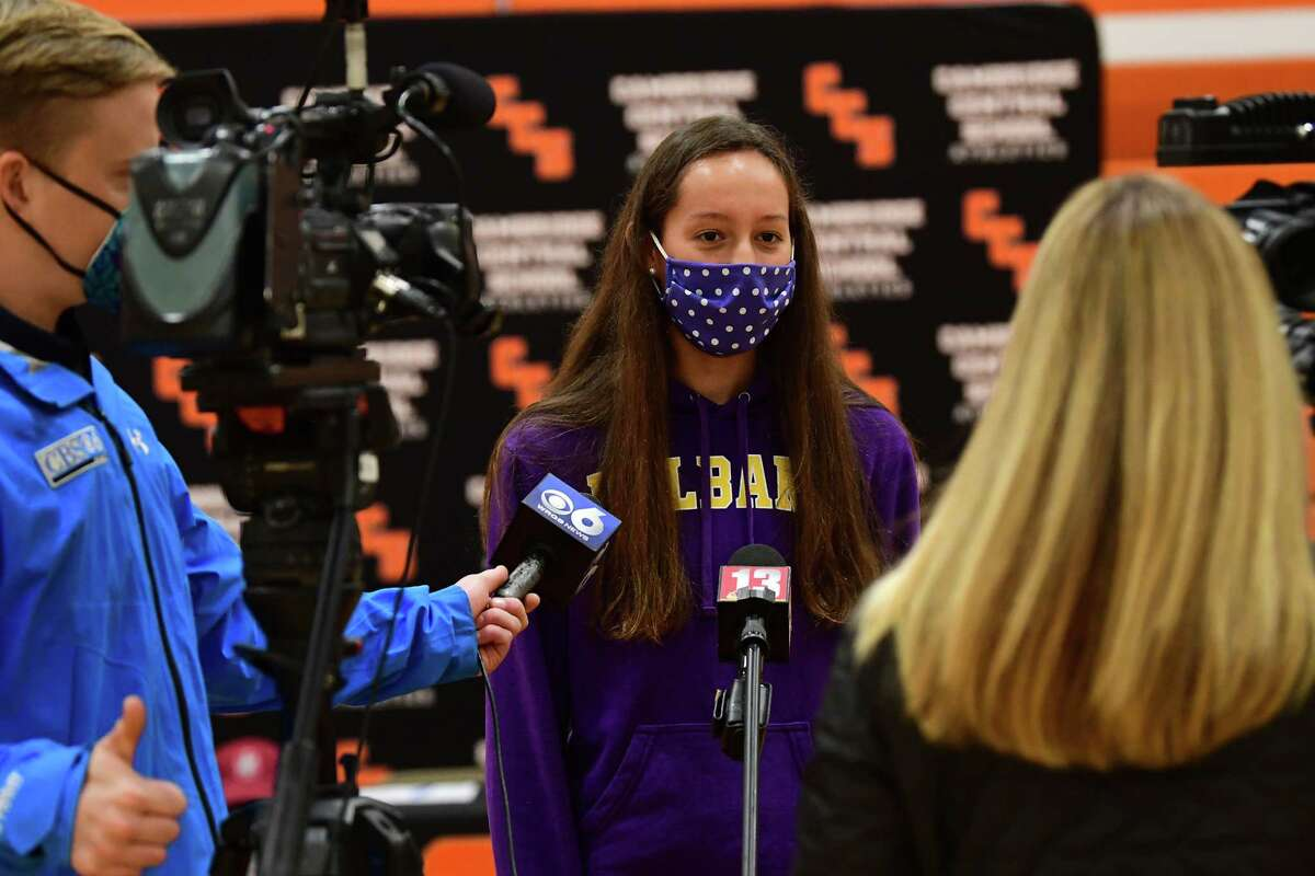 Cambridge athlete Lilly Phillips (UAlbany basketball) talks to the media after signing a letter of intent at Cambridge High School on Wednesday, Nov. 11, 2020 in Cambridge, N.Y. (Lori Van Buren/Times Union)