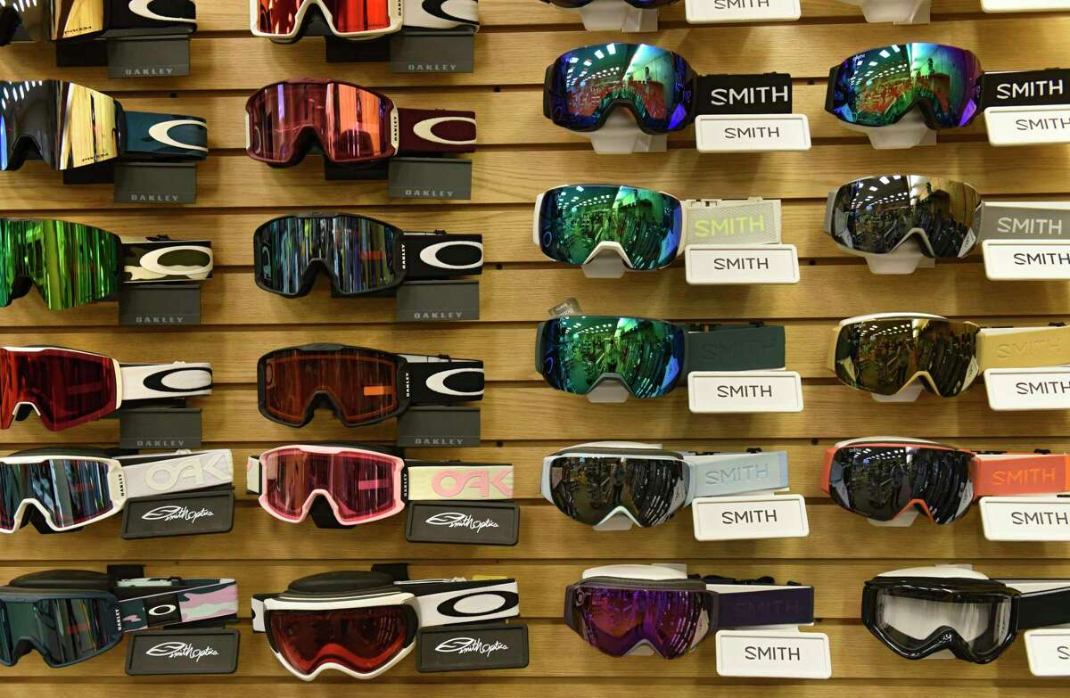 Snow goggles are seen on display at Alpin Haus on Wednesday, Nov. 11, 2020 in Clifton Park, N.Y. There won't be a ski show in Albany this year. (Lori Van Buren/Times Union)
