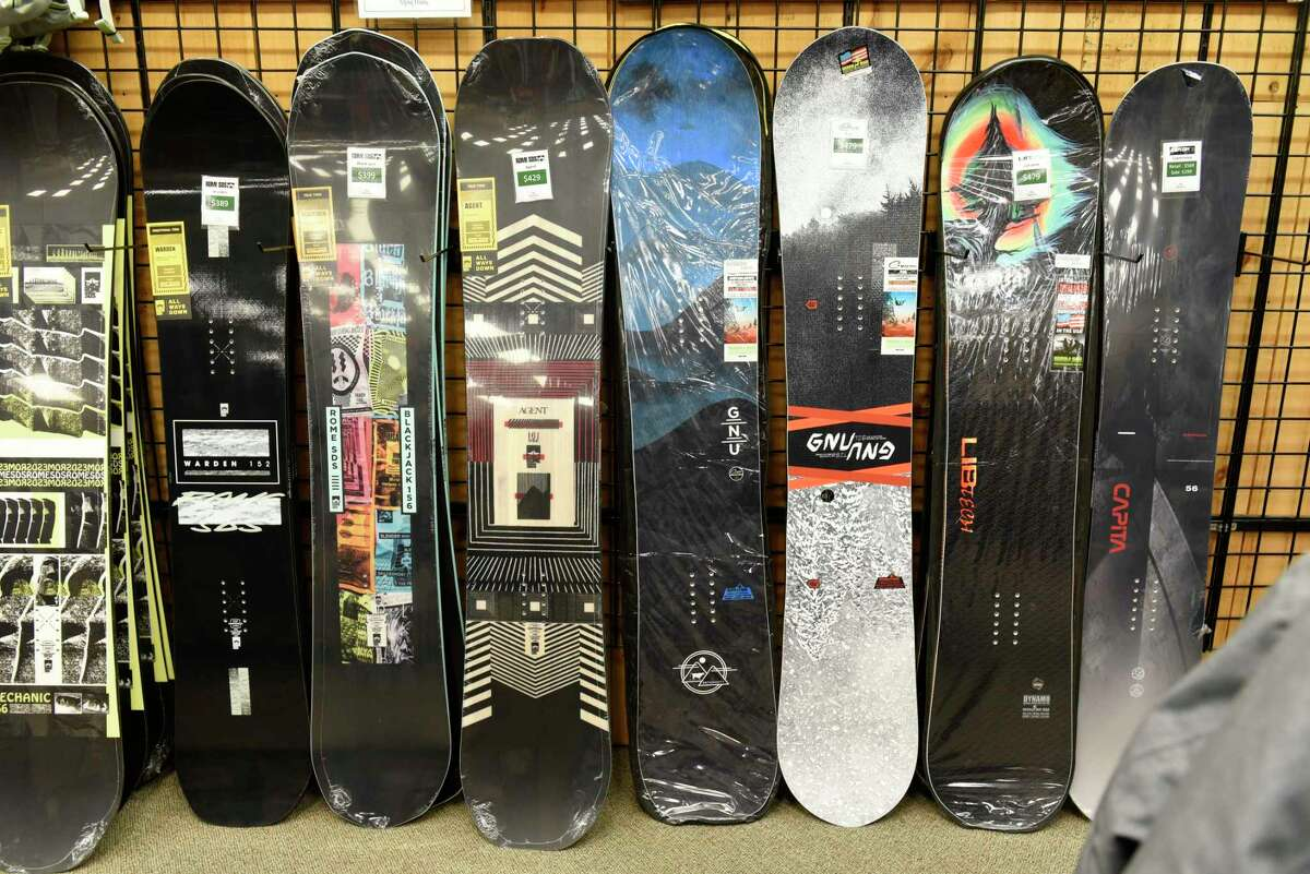 Snowboards are seen on display at Alpin Haus on Wednesday, Nov. 11, 2020 in Clifton Park, N.Y. There won't be a ski show in Albany this year. (Lori Van Buren/Times Union)