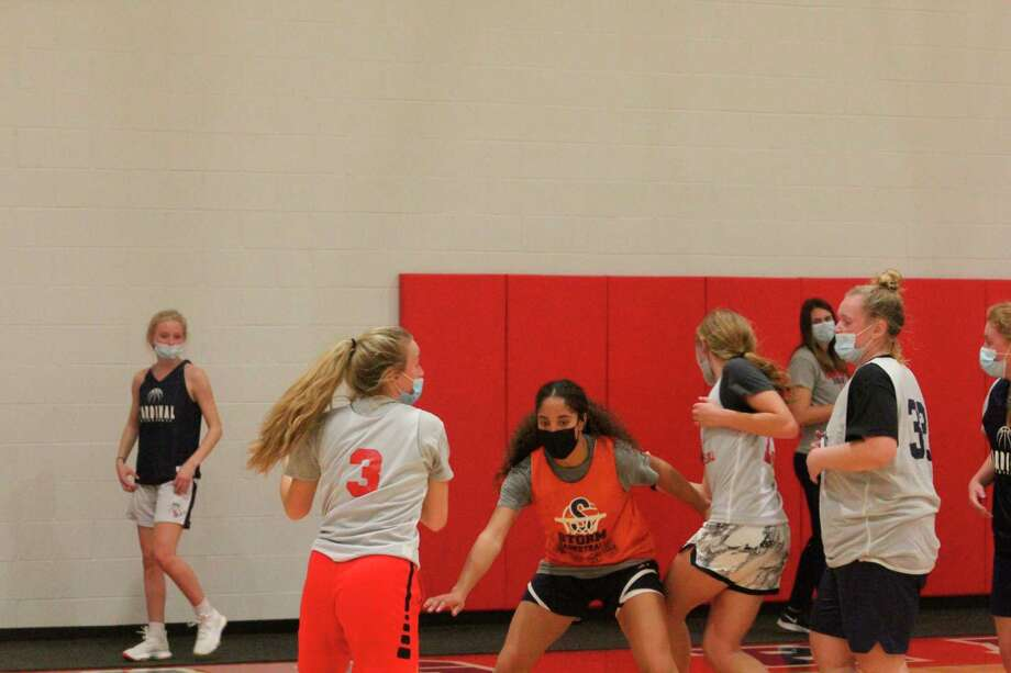 Big Rapids girls basketball players go through a practice session on Tuesday. (Pioneer photo/John Raffel)