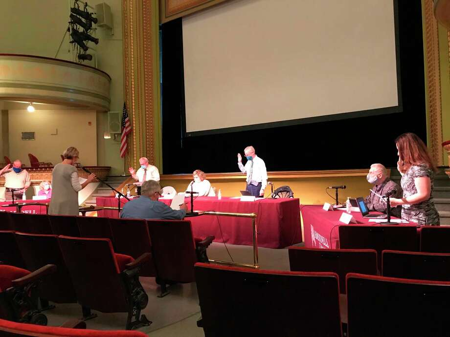 Councilmembers David Bachman, Erin Martin Pontiac, Mick Szymanski and Roger Zielinski were sworn in at the Manistee City Council's organizational meeting on Tuesday. (Erin Glynn/News Advocate)