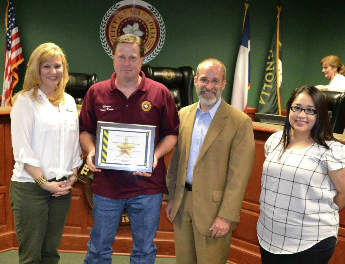 Magnolia Mayor Todd Kana holds the 2016 Municipal Traffic Safety Award presented to the Magnolia Municipal Court by the Texas Municipal Courts Education Center. Kana was reelected as mayor of Magnolia for the sixth time after defeating challenger candidate Jonny Williams during the Nov. 3 elections.