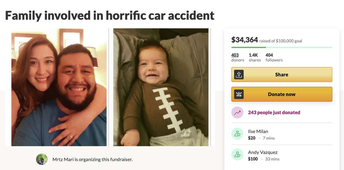 Tom and Priscilla Garcia, both 32, and their 2-month-old son Maximiliano were hospitalized after a head-on collision with a stolen car.