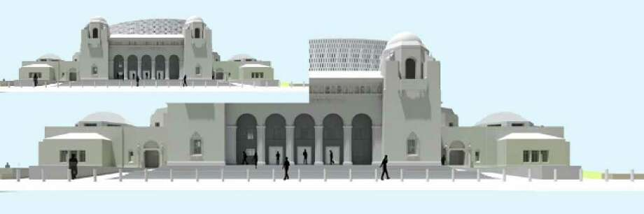 """The Historic and Design Review Commission has agreed to study plans for Municipal Auditorium's expansion after the San Antonio Conservation Society expressed concerns about the metal """"veil"""" on the roof and other features that the society fears will not blend well with the original 1926 design."""
