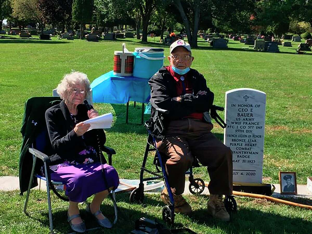 Elaine Garlock, 100, speaks at a memorial for her brother Rolland Hill as Ceo Bauer looks on.HilldiedJuly 14, 1944,fighting Normandy, France. (Courtesy photo/Bruce Garlock)