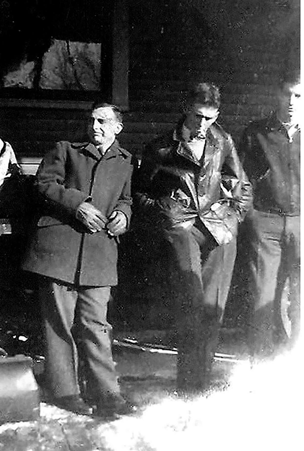 Ceo Bauer, Rolland Hill and Howard Berrywaitat the train station in Almaas the head off to the army. (Courtesy photo/Bruce Garlock)