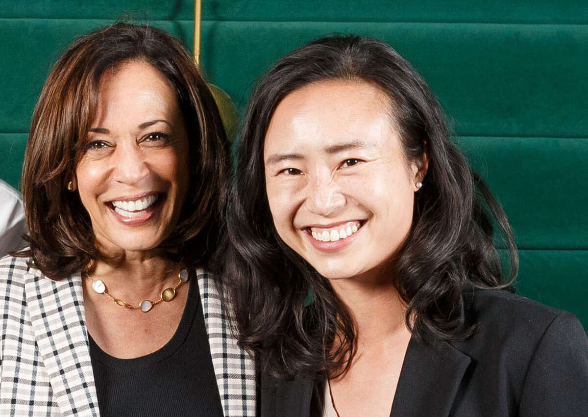 Connie Chan alongside then-District Attorney Kamala Harris, when she served as her aide.