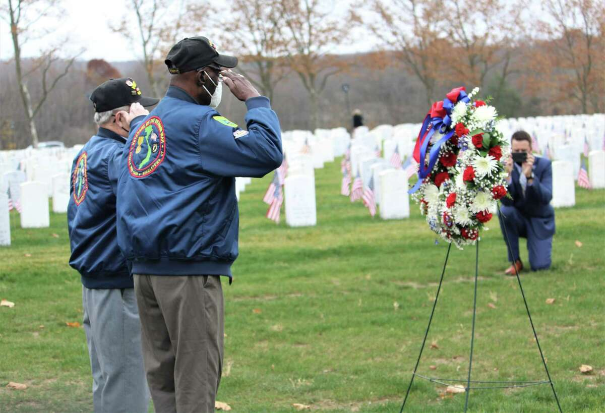Veterans joined state and local dignitaries Wednesday afternoon at the State Veterans Cemetery on Bow Lane in Middletown for an abbreviated program and wreath-laying ceremony in honor of Veterans Day. Among those who spoke were Gov. Ned Lamont, Lt. Gov. Susan Bysiewicz, U.S. Sen. Richard Blumenthal, and state Department of Veterans Affairs Commissioner Thomas Saadi.