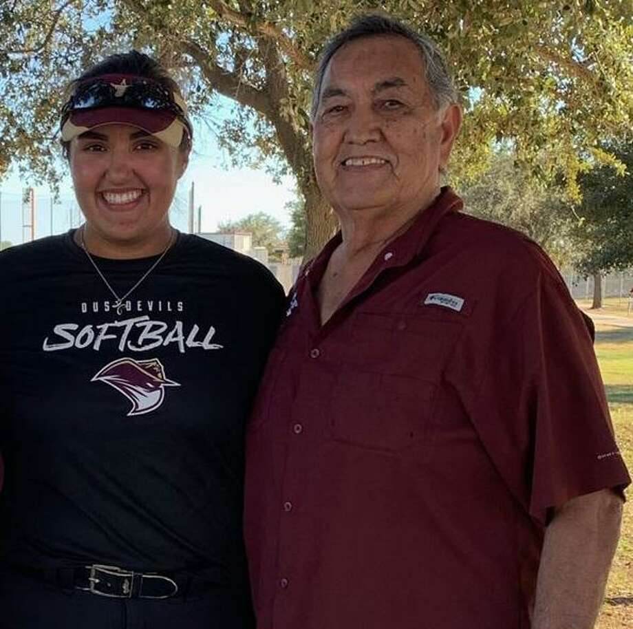 TAMIU softball player Victoria Gonzalez is pictured with her grandfather Arnulfo Correa who served in the Vietnam War. Photo: Courtesy /TAMIU Athletics