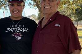 TAMIU softball player Victoria Gonzalez is pictured with her grandfather Arnulfo Correa who served in the Vietnam War.