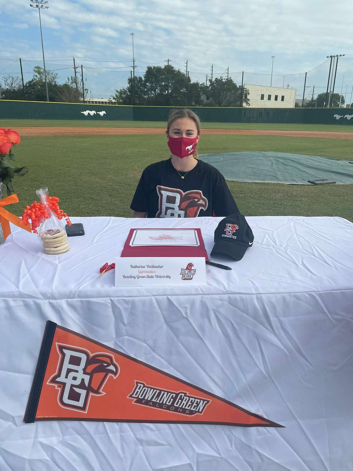 Memorial's Kathryn Weilbacher signed a gymnastics scholarship with Bowling Green.