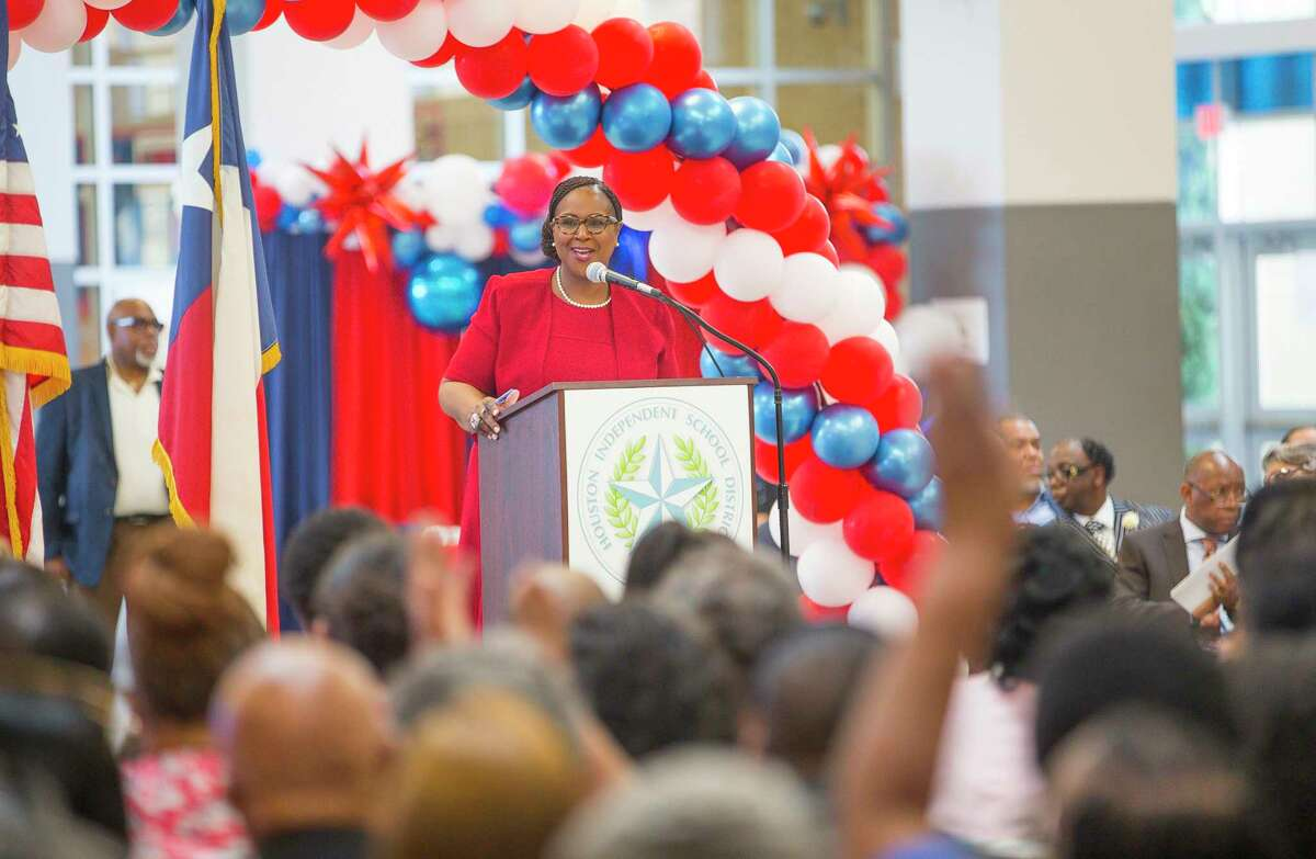 Houston ISD trustees are scheduled to vote Thursday on whether to name Interim Superintendent Grenita Lathan, pictured in 2019, as the lone finalist for the district's top job. Lathan has been interim superintendent since March 2018.