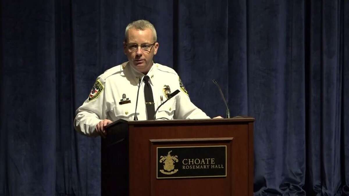 Wallingford Police Chief William Wright speaks at Choate Rosemary Hall in an undated file photo.