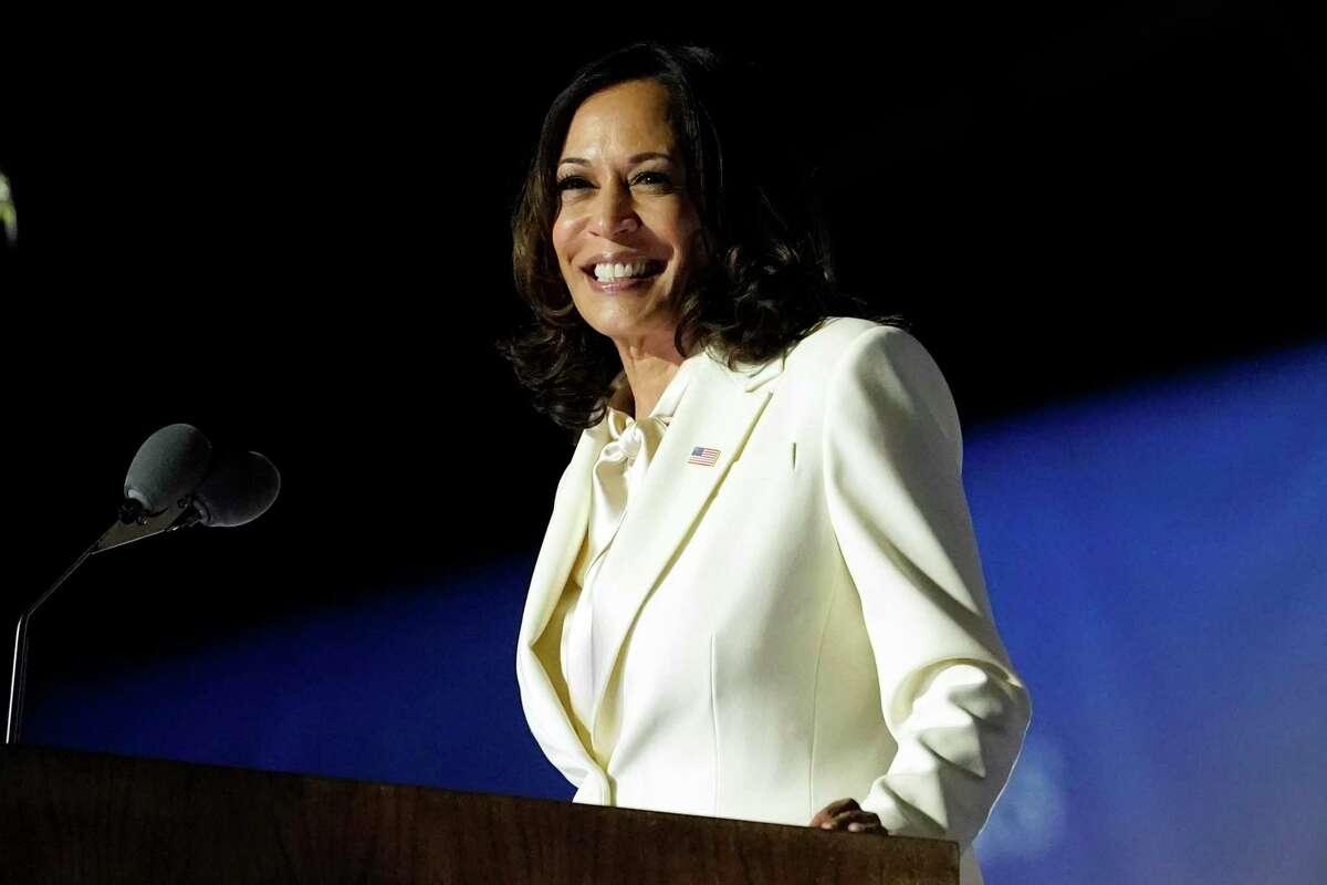 Vice President-elect Kamala Harris speaks, Saturday, Nov. 7, 2020, in Wilmington, Del. (AP Photo/Andrew Harnik)