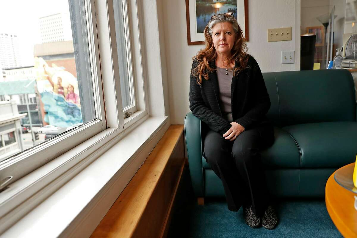 Attorney Julia Sherwin at her office in Oakland. Sherwin represented Stanislav Petrov in his civil rights lawsuit against two Alameda County deputies who allegedly beat him in a Mission District alley.