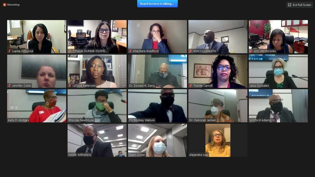 Spring ISD board members meet over Zoom for their Nov. 10 board meeting.