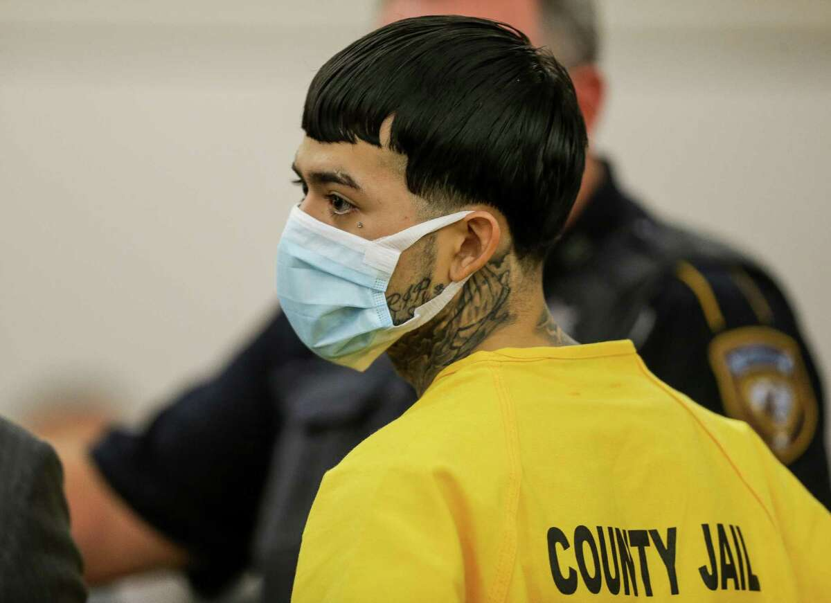 Robert Soliz, accused in the murder of Houston Police Sgt. Sean Rios, appears in the 179th criminal court in front of Judge Randy Roll at the Harris County criminal courthouse on Thursday, Nov. 12, 2020, in Houston.