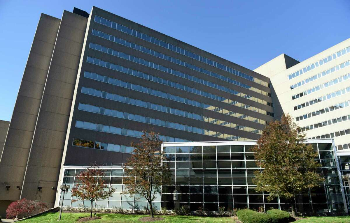 The building at 700 E. Main St., in downtown Stamford, Conn., has been vacated following the closing in October 2020 of a Sheraton hotel.