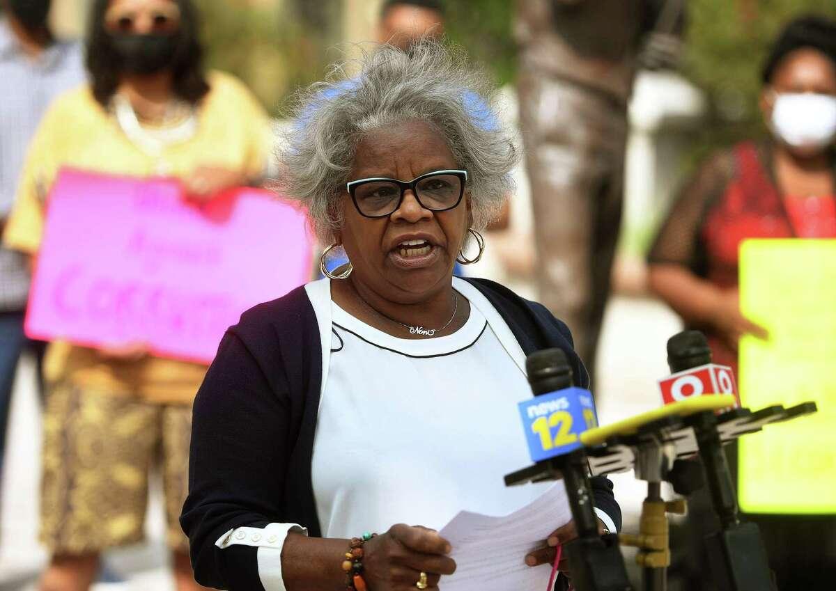 State Senator Marilyn Moore addresses a Bridgeport Generation Now rally calling for the resignation of Mayor Joe Ganim outside the Margaret Morton Government Center in Bridgeport, Conn. on Monday, September 14, 2020.