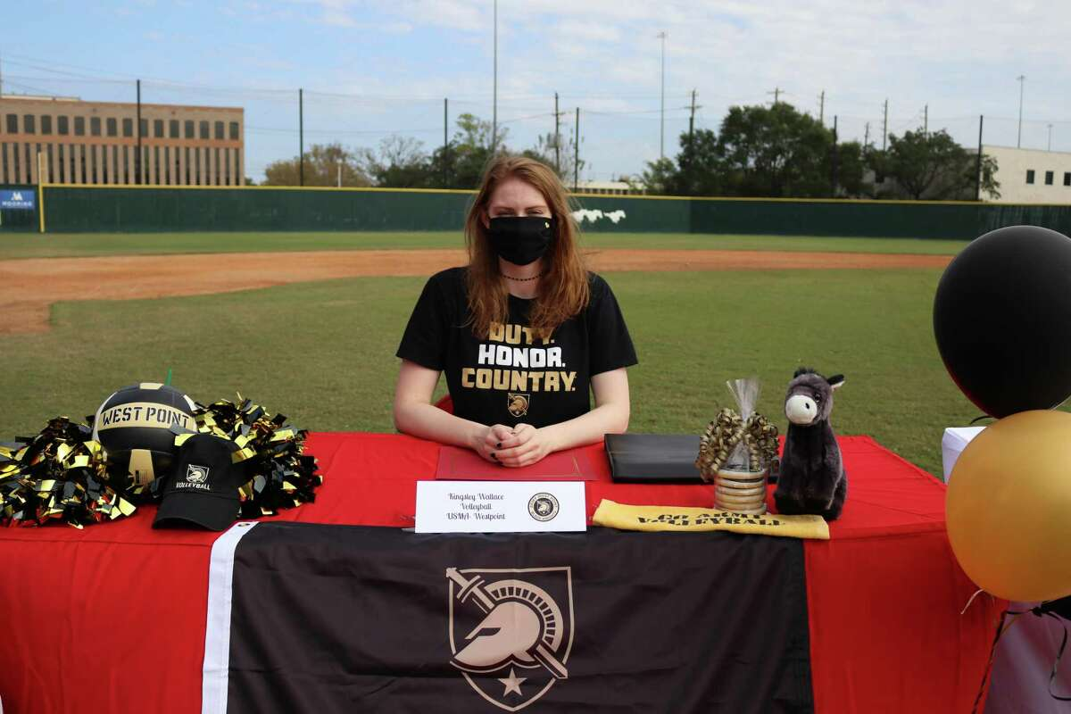 Memorial's Kingsley Wallace signed her National Letter of Intent to play volleyball at the United States Military Academy, Army West Point at the school's Early Signing Day ceremony on the morning of Nov. 11