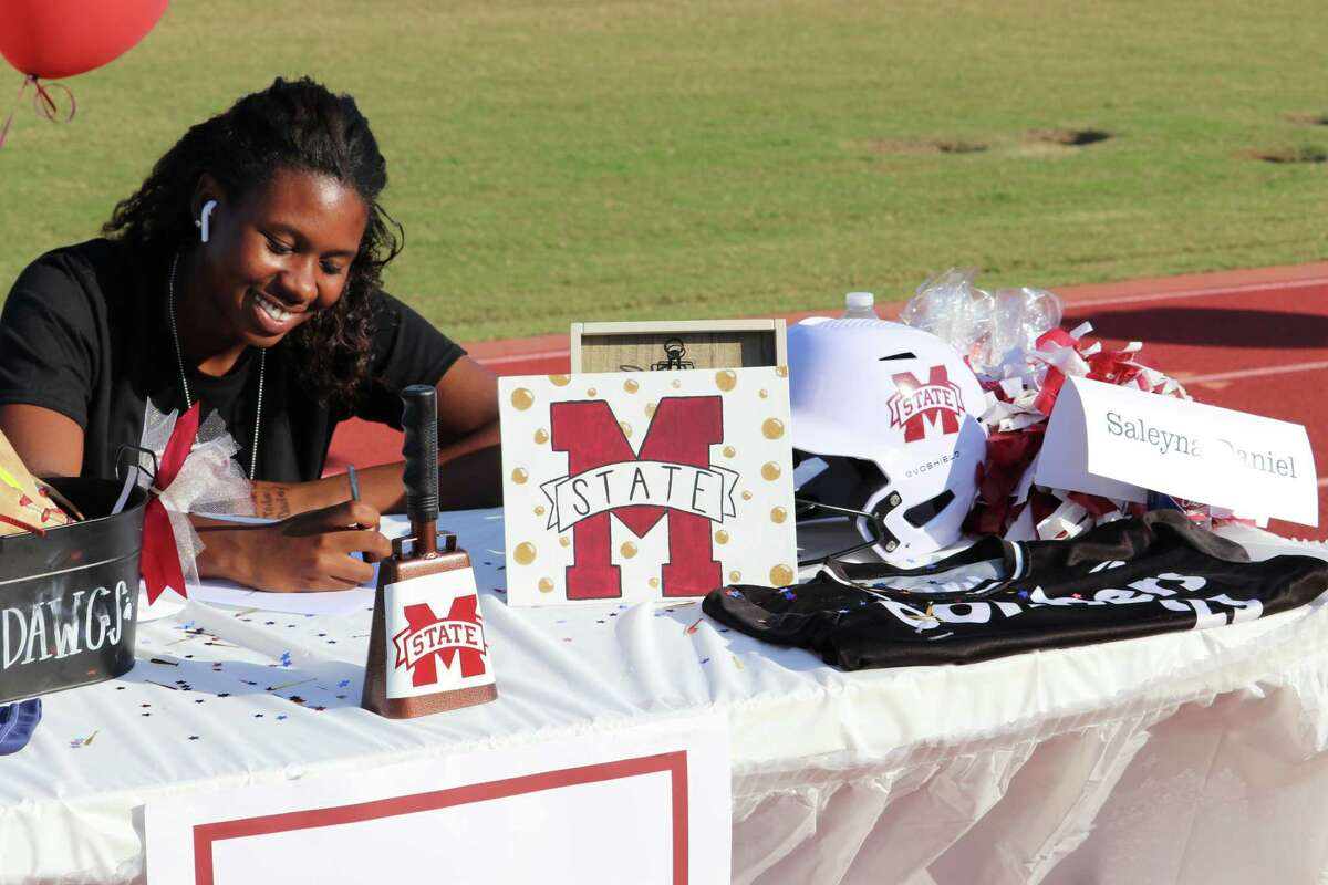 Stratford's Saleyna Daniel signed her National Letter of Intent to play softball at Mississippi State University at the school's Early Signing Day ceremony on the afternoon of Nov. 11