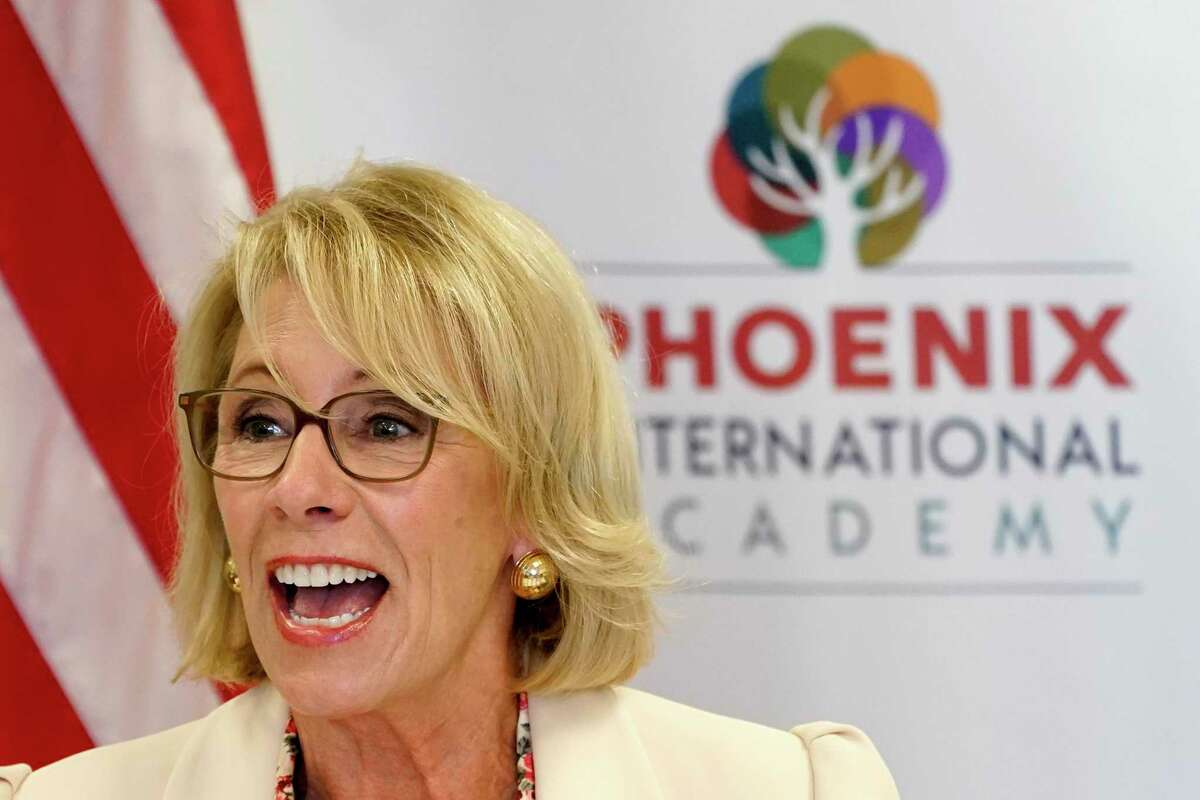 U.S. Secretary of Education Betsy DeVos speaks Oct. 15, 2020, at the Phoenix International Academy in Phoenix. President Trump appointed her to the position in 2017.