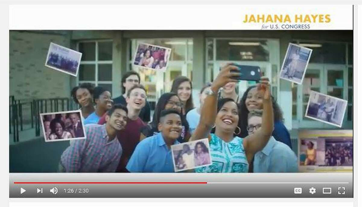 A political commercial this election for U.S. Rep. Jahana Hayes, D-Conn., features her rise from single motherhood to the National Teacher of the Year.