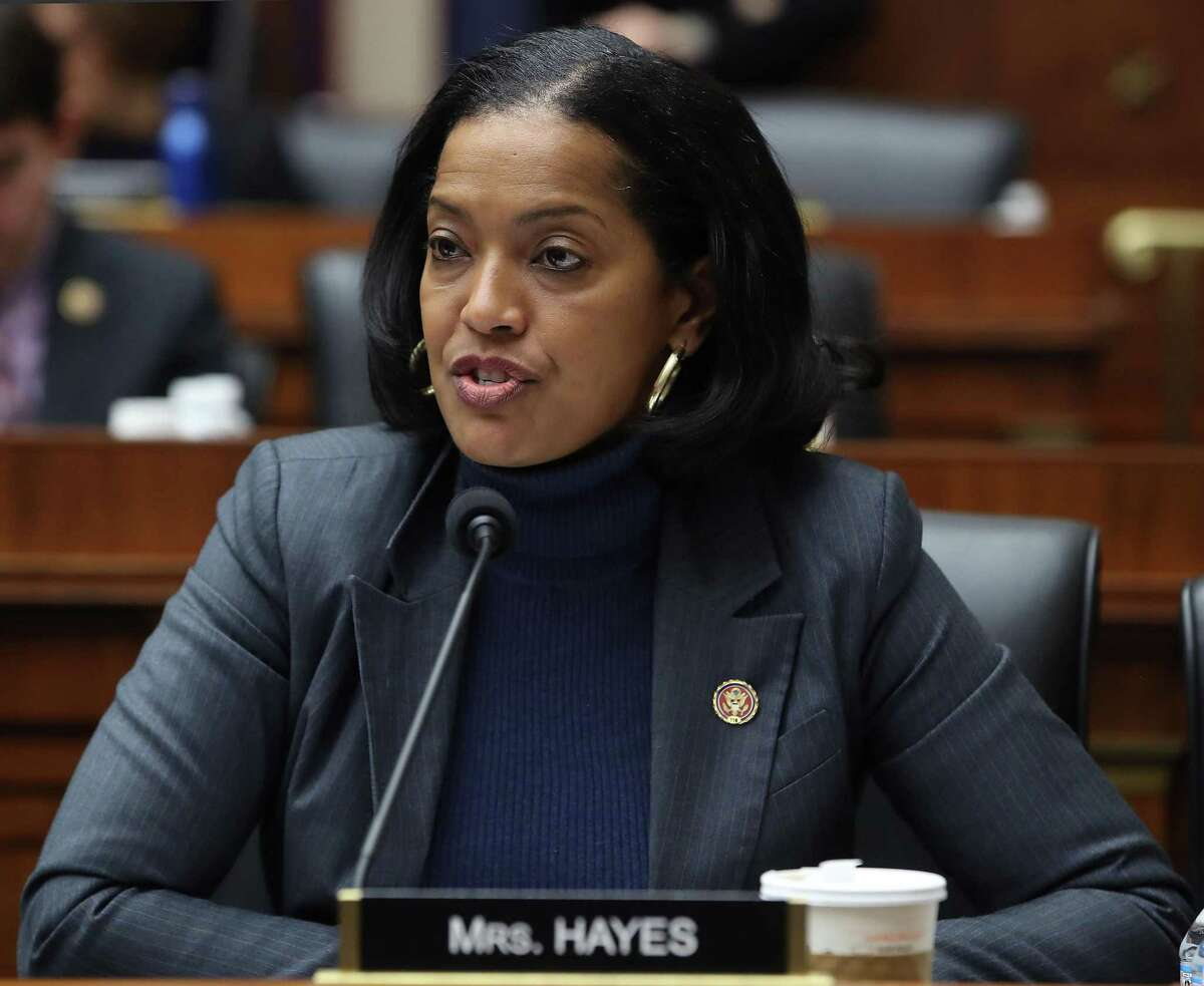Rep. Jahana Hayes (D-CT) participates in a hearing at the Rayburn House Office Building in Washington, D.C., on March 6, 2019. She was a high school in Waterbury when she was named Teacher of the Year in 2016.