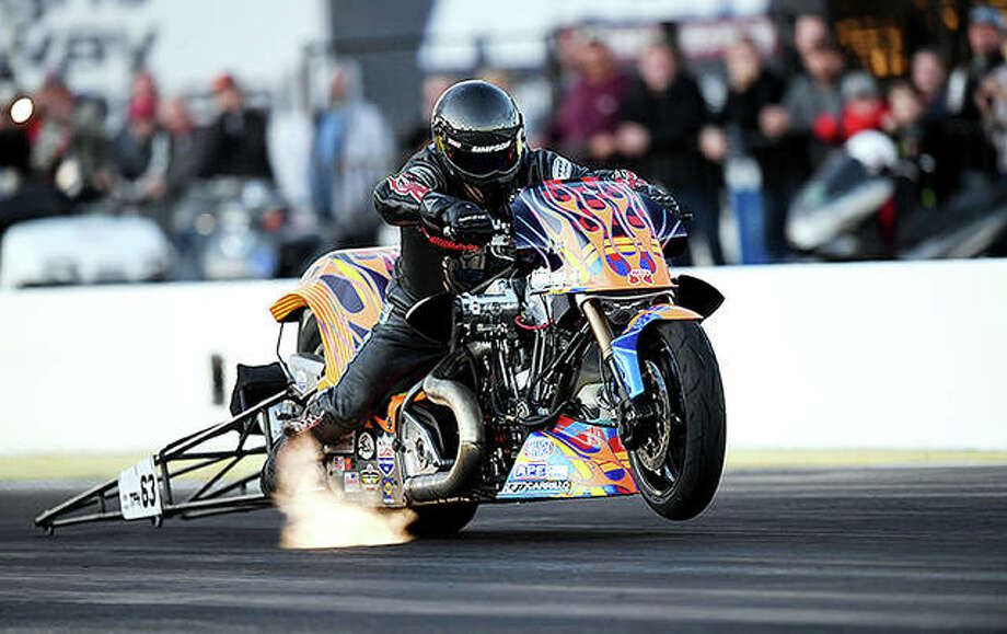 The NHRA Top Fuel Harley Series has been added to World Wide Technology Raceway's's annual NHRA Camping World Drag Racing Series national event, scheduled for Sept. 24-26 next year. The racers reach speeds in excess of 230 miles per hour. Photo: WWTR Photo