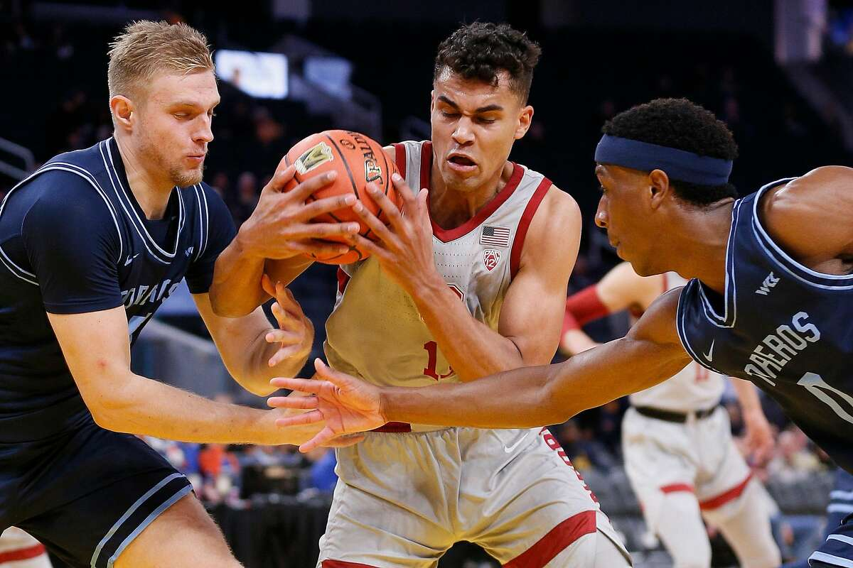 Stanford Cardinal forward Oscar da Silva (13) fights for the rebound against the San Diego Toreros in Session 1 of the Al Attles Classic at Chase Center on Saturday, Dec. 21, 2019, in San Francisco, Calif.