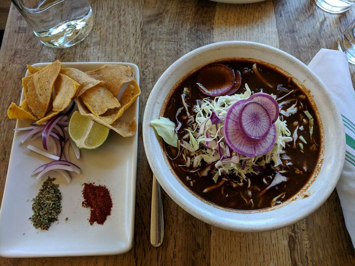 Pozole rojo at Nopalito