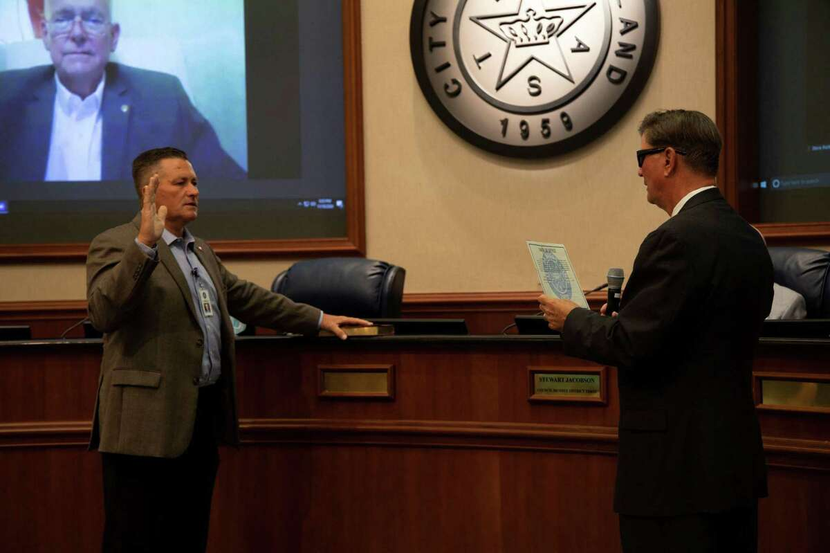 William Ferguson was sworn in for his first term on the Sugar Land City Council by Mayor Joe Zimmerman.