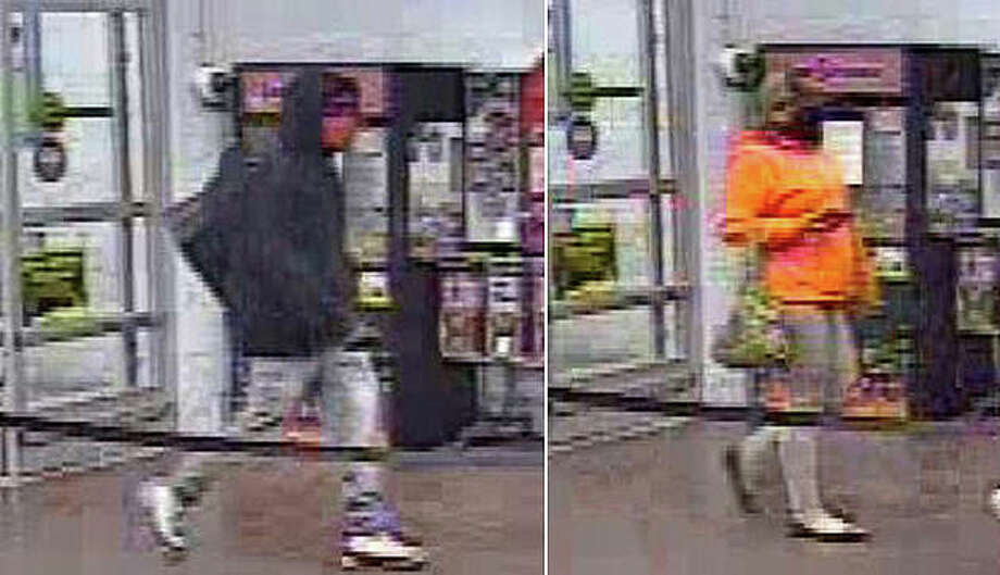 Police want to question a man and a woman about the theft of seven gaming systems from Walmart. Photo: Surveillance Photos