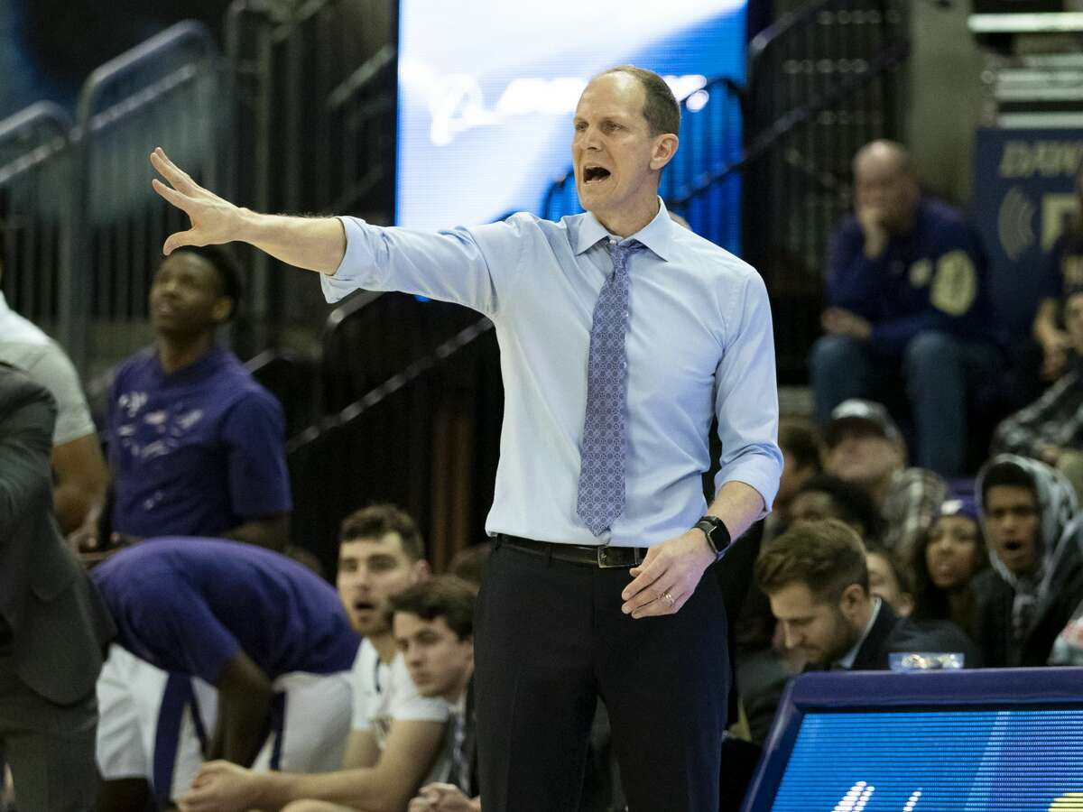 SEATTLE, WA - JANUARY 01: Washington Huskies head coach Mike Hopkins reacts during a college basketball game between the Washington Huskies against the Cal State Fullerton Titans on January 01, 2019, at Alaska Airlines Arena at Hec Edmundson Pavilion in Seattle, WA. (Photo by Joseph Weiser/Icon Sportswire via Getty Images)