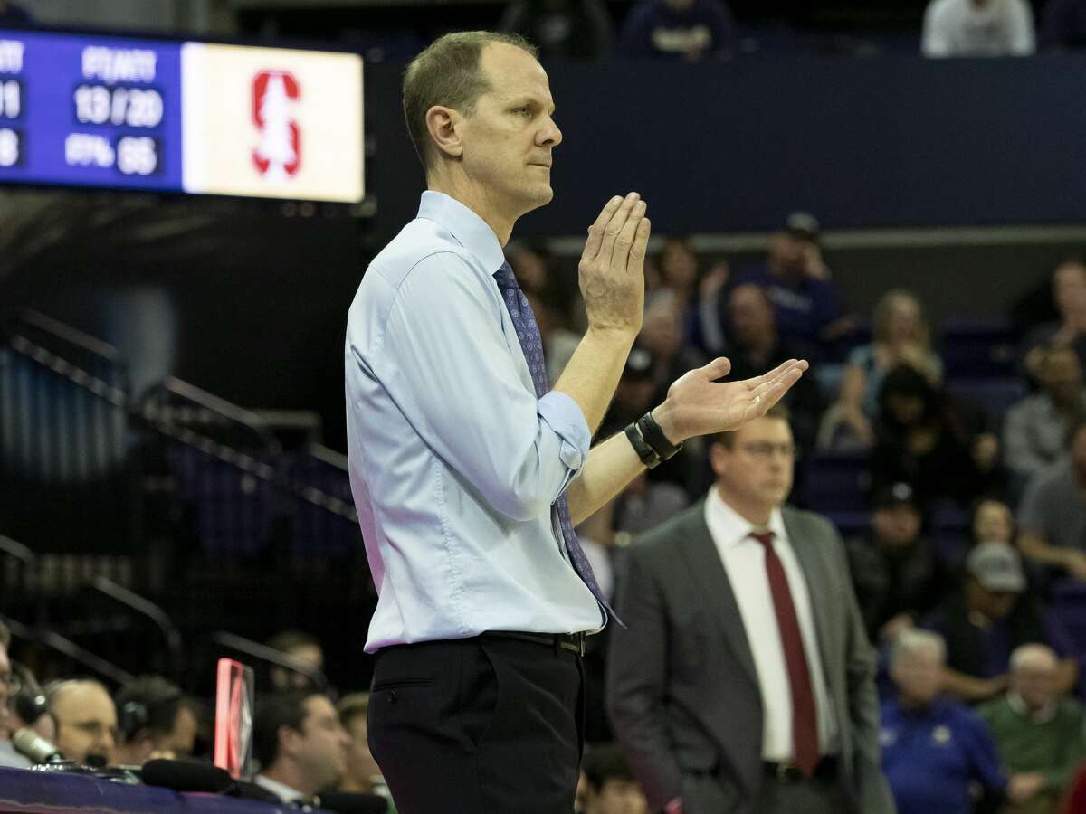 SEATTLE, WA - JANUARY 17: Washington Huskies head coach Mike Hopkins cheering during a college basketball game between the Stanford Cardinal against the Washington Huskies on January 17, 2019, at Alaska Airlines Arena at Hec Edmundson Pavilion in Seattle, WA. (Photo by Joseph Weiser/Icon Sportswire via Getty Images)