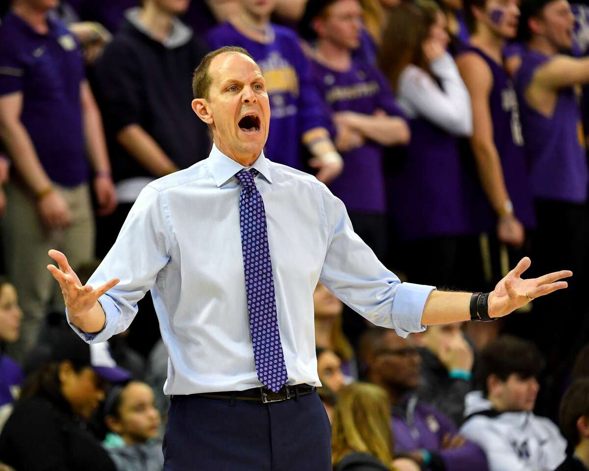 SEATTLE, WASHINGTON - FEBRUARY 20: head coach Mike Hopkins of the Washington Huskies disagrees with the call against his team at Hec Edmundson Pavilion on February 20, 2019 in Seattle, Washington. (Photo by Alika Jenner/Getty Images)