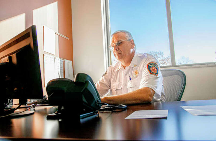Brendan McKee began work with the Edwardsville Fire Department Monday as its new assistant fire chief, bringing 34 years of experience to the post. Photo: Tyler Pletsch | The Intelligencer