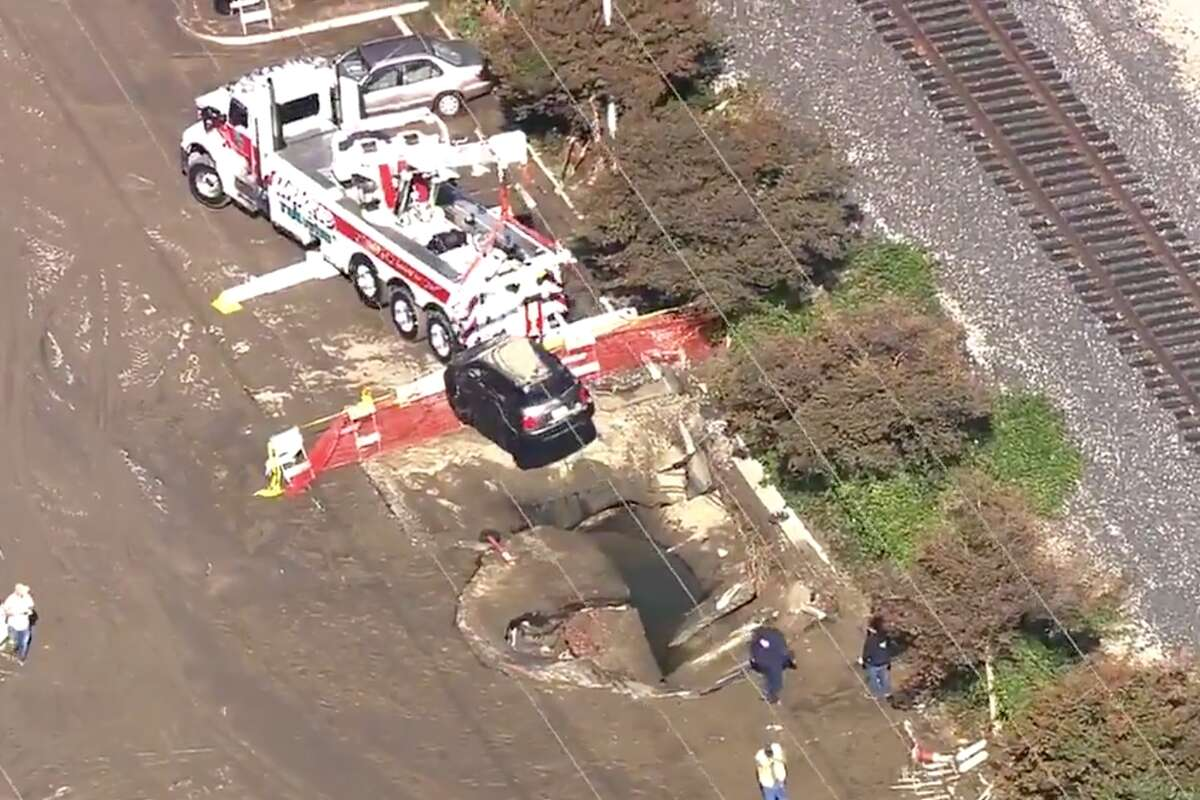A KTVU news chopper captured a sink hole near Levi's Stadium in Santa Clara on Nov. 12, 2020.