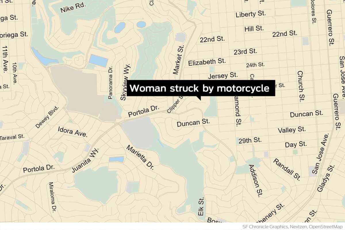 A 90-year-old woman suffered life-threatening injuries Wednesday in San Francisco's Diamond Heights neighborhood after a motorcyclist struck her before fleeing the scene, police said.