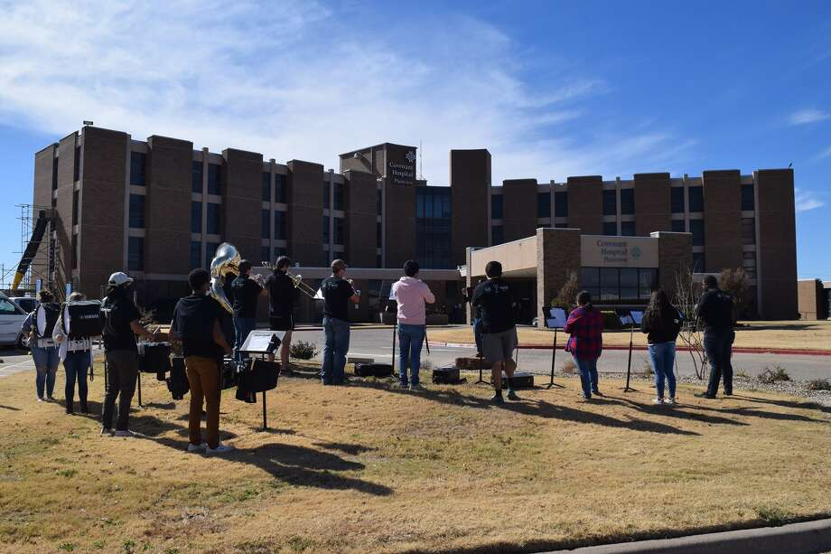 The WBU Marching Band gathered for a special performance at Covenant Health Plainview this week. Photo: Provided By Covenant Health Plainview