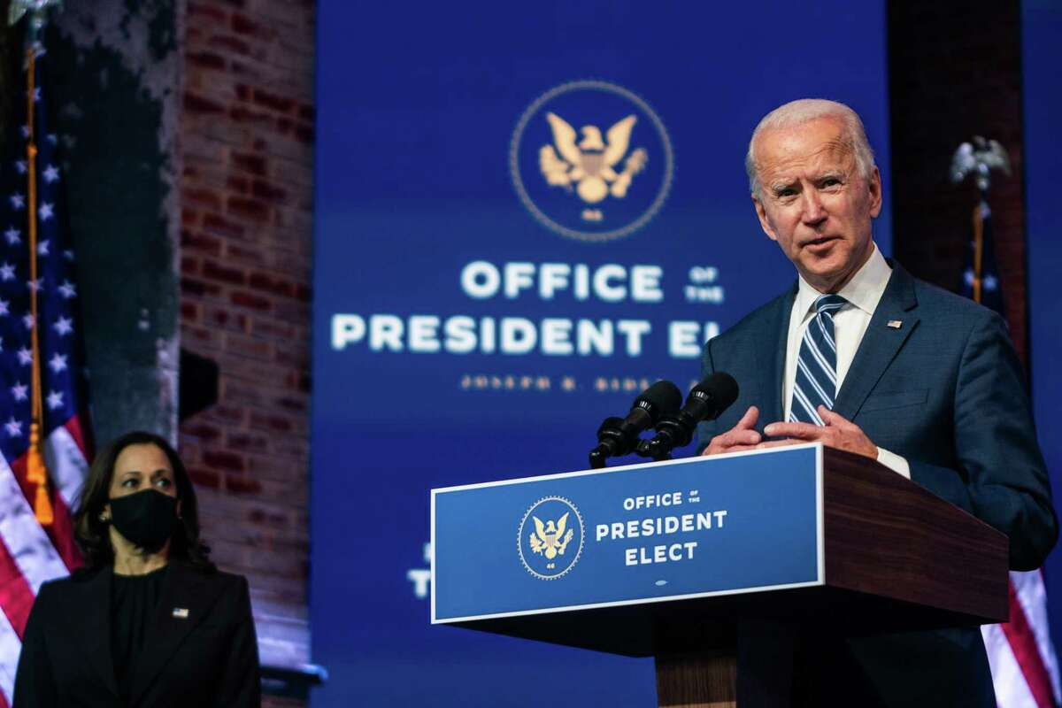 President-elect Joe Biden answer questions from the press in Wilmington, Del., on Tuesday.
