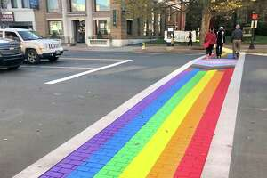 Middletown recently commissioned artist Brian Colbath to repaint the crosswalk in front of Main Street Market, at 386 Main St., in LGBTQIA colors as part of Middletown Pride's year-round observance. Colbath is also creator of the Gay Pride Month rainbow flag at West Hartford's Blue Back Square located near the West Hartford Public Library.