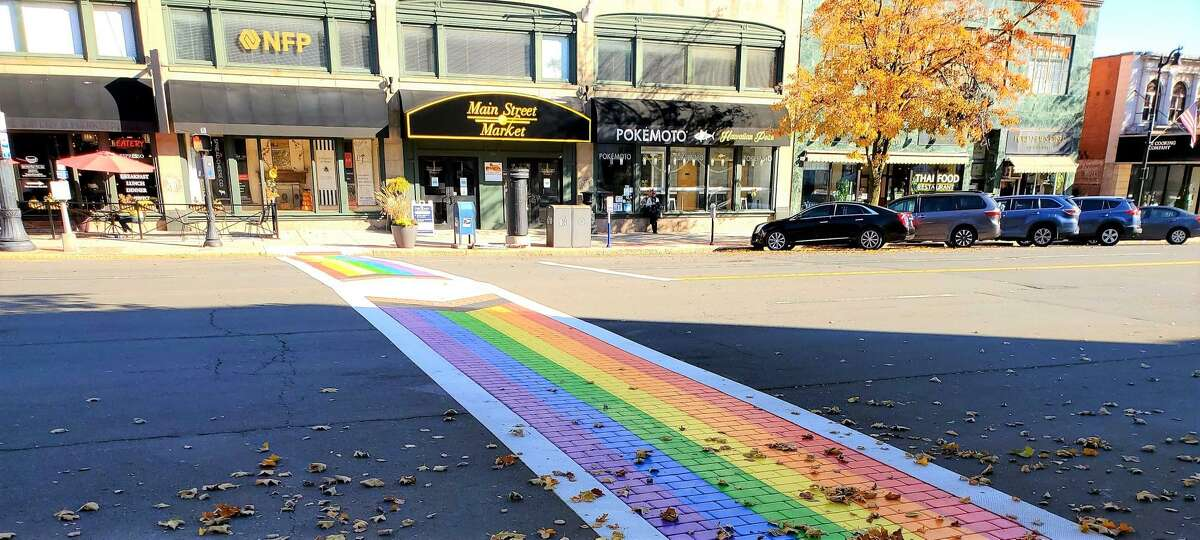 A LGBTQIA crosswalk is located in front of Main Street Market, 386 Main St., Middletown, as a celebration of Middletown Pride.
